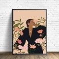Бохо стены искусства печати Абстрактный Женский портрет моды иллюстрации плакат ботанический цветок искусства холст картина тропический ...