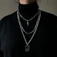 Yeni kişilik çapraz kare Metal çok katmanlı Hip hop uzun zincir serin basit kolye kadın erkek takı için hediyeleri 19