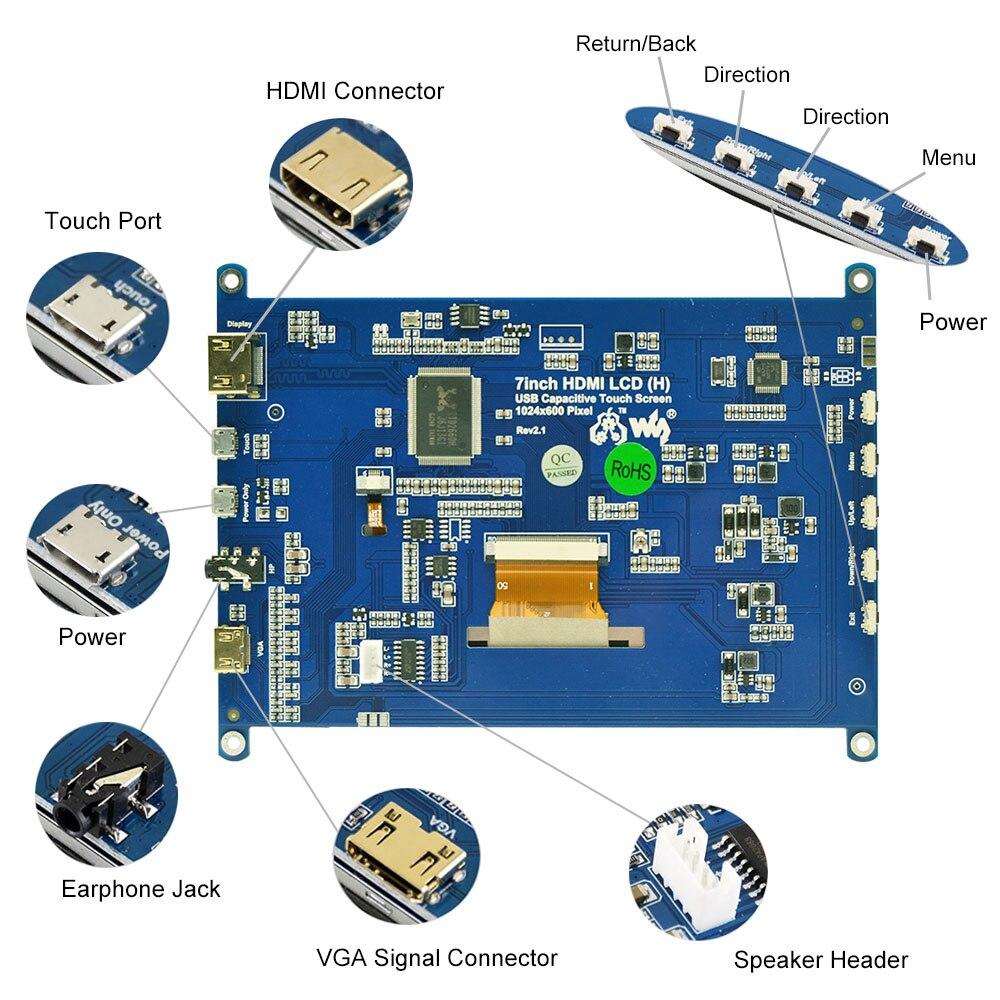 שונות פטל Pi 4B 7 אינץ מסך מגע פטל 1024x600 תומך מסך IPS Capacitive Touch LCD מערכות שונות Multi מיני-מחשבים (3)