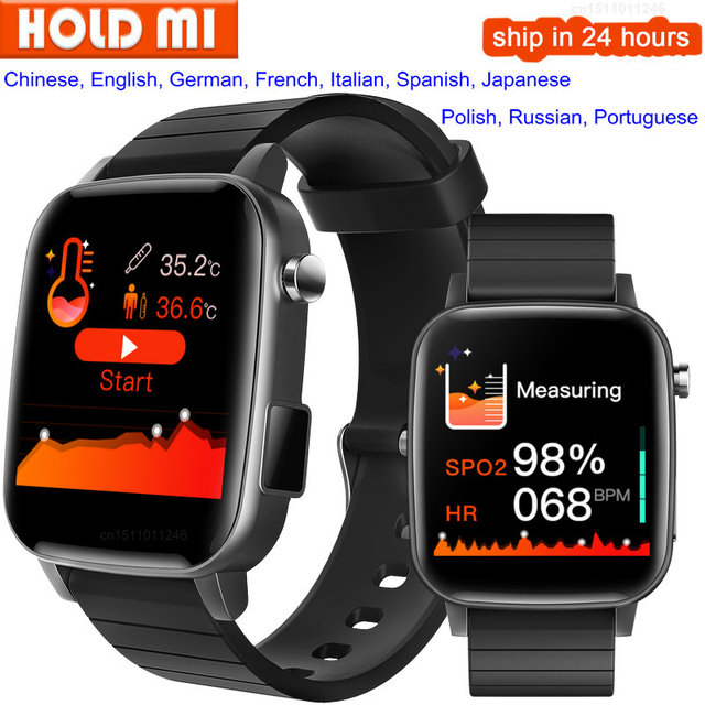 SP1 Sport Smartwatch Mannen Vrouwen Met Body Temperatuur Meet Hartslag Echte Medische SPO2 Bloed Zuurstof Smart Horloge Vs W26 w46