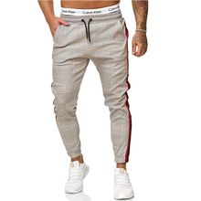 2021 Casual Plaid Ankle-Length Pants Men Trousers Joggertrousers with an elasticated waist Pants Men Sweatpants Japanese Street