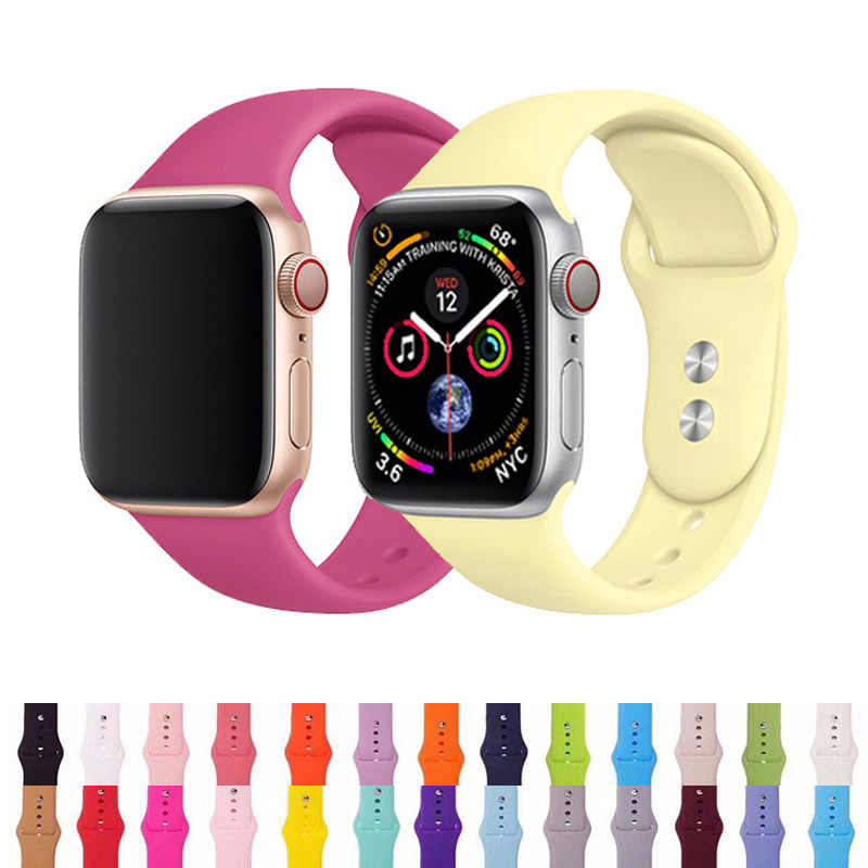 Correa para Apple Watch Correa 38mm 42mm iWatch 4 banda 44mm 40mm deporte silicona suave pulsera Correa Apple watch 5 4 3 2 accesorios