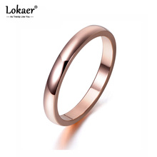 Lokaer Brand Simple 316L Stainless Steel Finger Ring Classic Rose Gold Color Engagement Anniversary Rings For Girls R17136