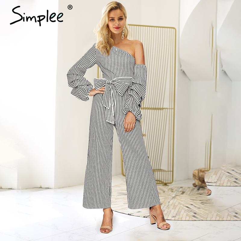 Simplee One Shoulder Striped Women Jumpsuit Romper Sexy Ruffled Bow Tie Wide Leg Female Jumpsuits Autumn Winter Ladies Overalls