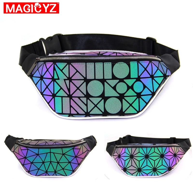 Women Waist Bags Luminous Color Fanny Pack Female Banana Belt Bag Leg Purse Holographic Crossbody Bag Laser Chest Phone Pouch