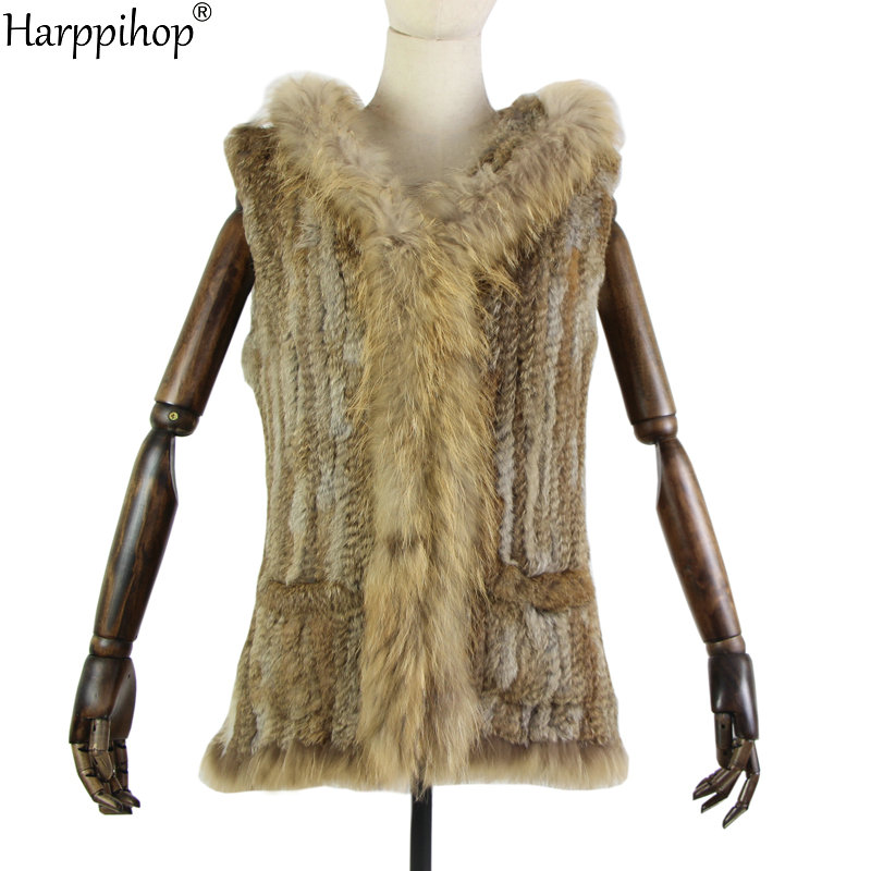 Harppihop Fur New Natural Fur Vest Genuine Rabbit Fur Knitted Gilet With Fur Hooded Long Coat Jackets With Pocket Women Winter