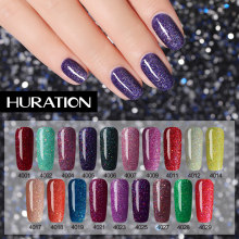 Huration Neon Gel Nagellak Kleur voor Nagels Holografische Top Glitter Builder Gel Zilver Nagel Basis Gel Polish 5ml gel Nail Tool(China)