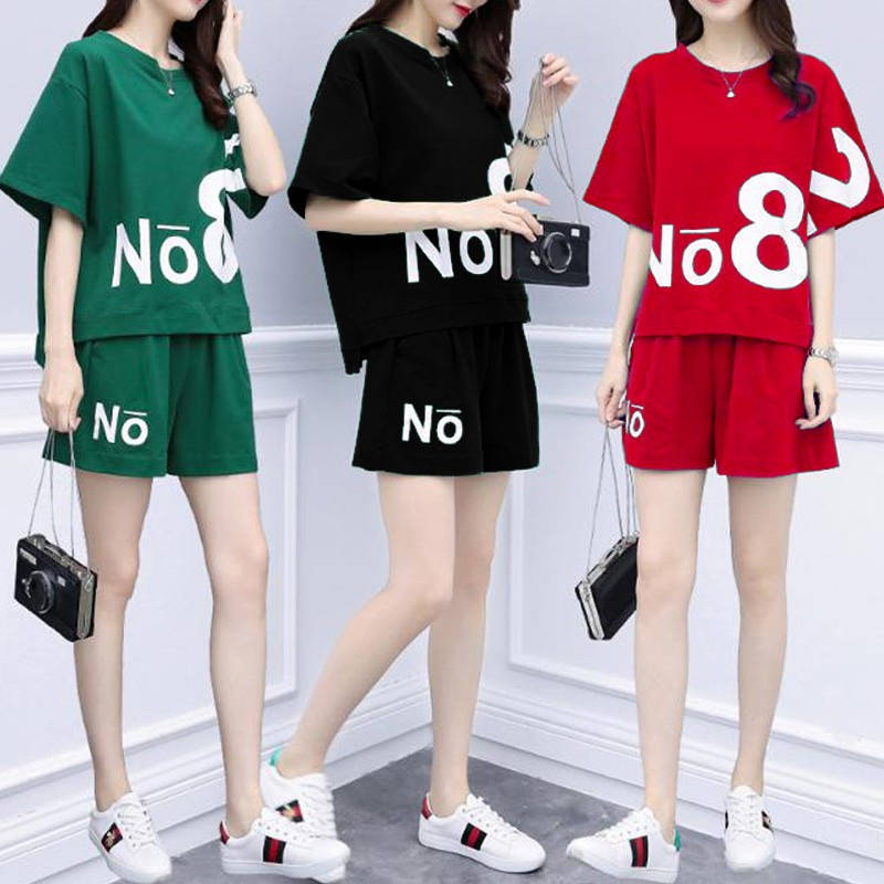 Good Fabric 2019 Summer New Style Shorts Sports Clothing Fat Mm Large Size Short Sleeve T-shirt Two-Piece Casual WOMEN'S Suit