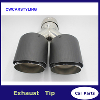 Y Model Dual Carbon fiber + stainless steel universal Auto ak exhaust tip Double end pipe for bmw benz vw golf