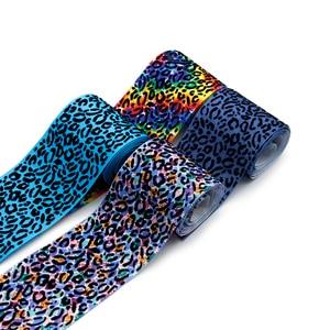"David accessories 50yards/roll 3"" 75mm Velvet Leopard Grosgrain Ribbon DIY Home Crafts Supplies Packing Belt Material,50Yc9819"