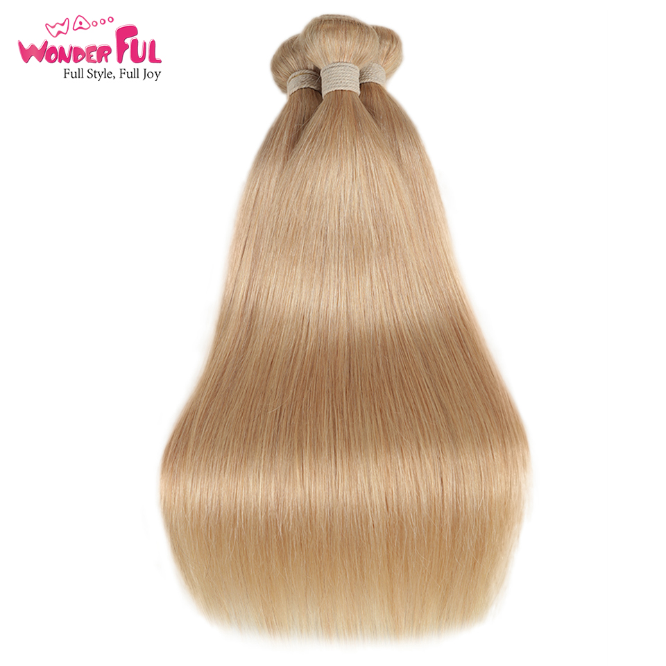 Remy Brazilian Hair Weave Bundles 10 To 26 Inches Straight Human Hair Extension Honey Blonde P27/16/613 Hair Weave Bundles