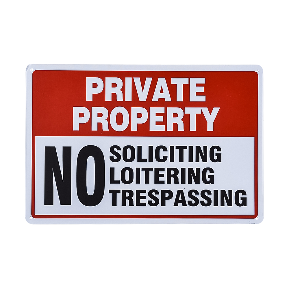 Private Property Sign, No Soliciting No Loitering No Trespassing,Easy Mounting, Indoor/Outdoor Use
