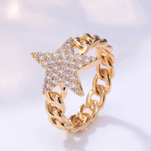 Image 2 - Crystal Star Ring For Women Gold Color Cubic Zirconia Pentagram Rings Party Jewelry Womens Gift Bijoux femme 2020 Wholesale
