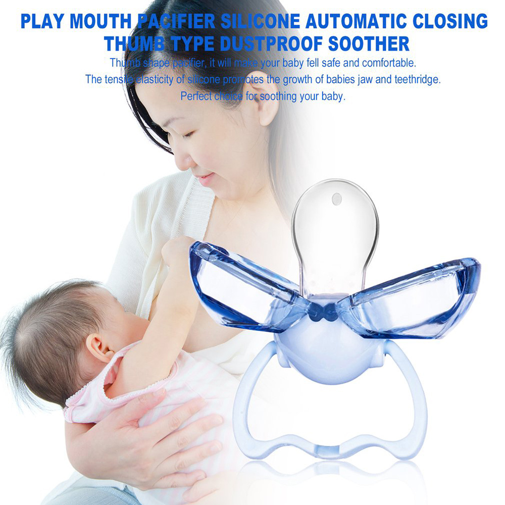 2019 Baby Silicone Pacifier Baby Silicone Thumb Pacifier Newborn Baby Toddler Automatic Closing Pacifier