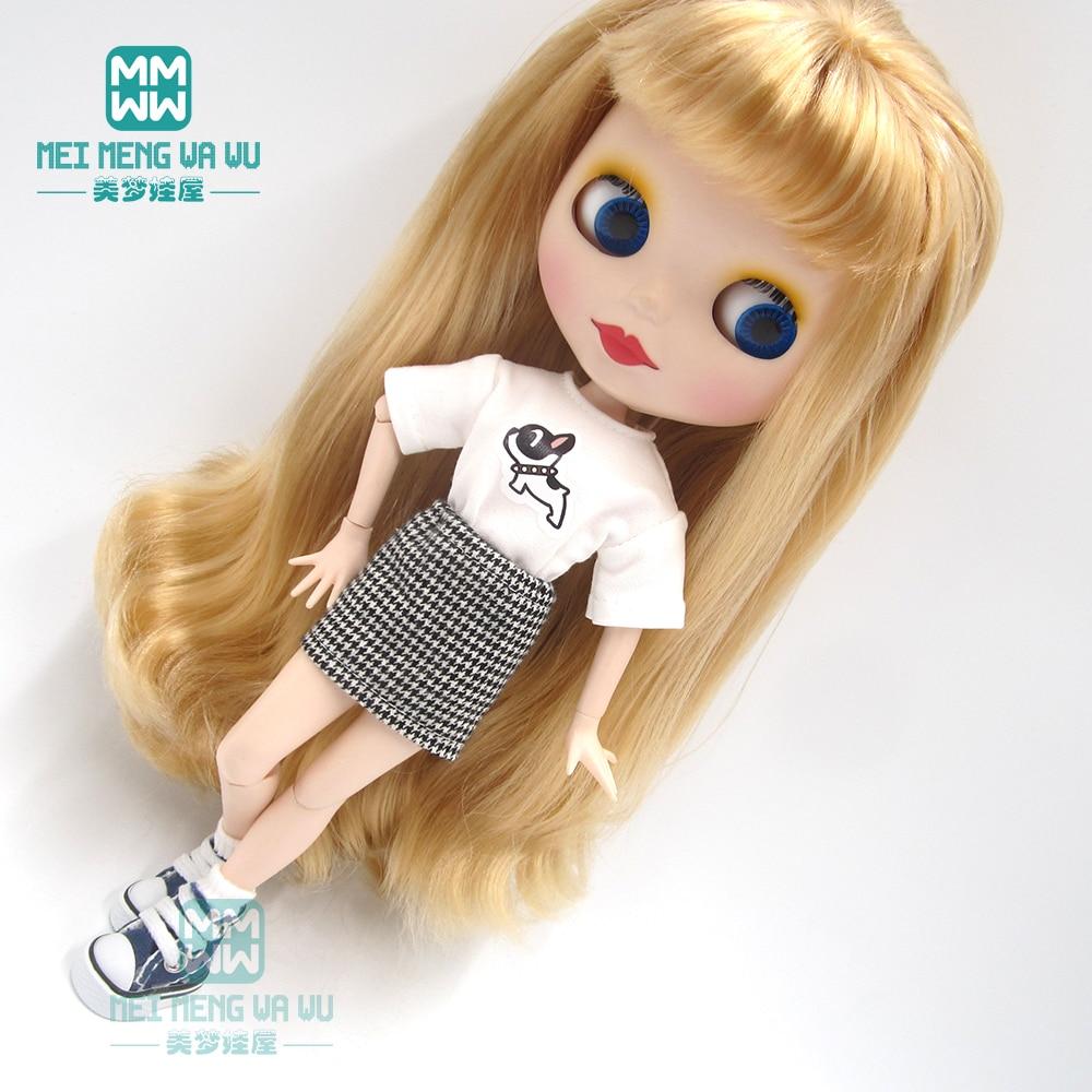 1pcs Blyth Doll Clothes Fashion White T, Plaid Dress  For Blyth , Azone OB23 OB24 1/6 Doll Accessories