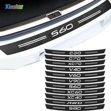 Adesivo de carbono Fibercar Car Protector Bumper Para Volvo S60 XC90 V40 V50 V60 V70 S80 S90 V90 C30 C70 XC70 XC60 XC40 AWD T6