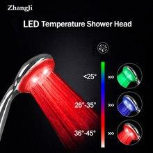 Zhangji nowy sterowany temperaturą LED głowica prysznicowa Super duży Panel z 3 zmianami kolorów 5 chromowanie wysokiej jakości