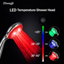 Zhangji New LED Temperature Controlled Shower Head  Super Large Panel with 3 Color Changes 5 Chrome Plating High Quality