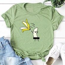 Femmes décontracté graphique t-shirts femmes Polyester été t-shirts & hauts Harajuku banane avec banane décoller drôle Kawaii t-shirts 2020