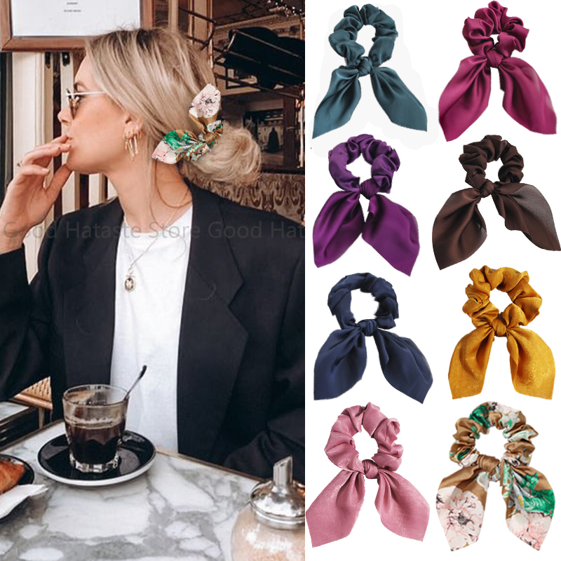 New Chiffon Bowknot Elastic Hair Bands For Women Girls Solid Color Scrunchies Hair Ties Ponytail Holder Headband Hair Accessorie