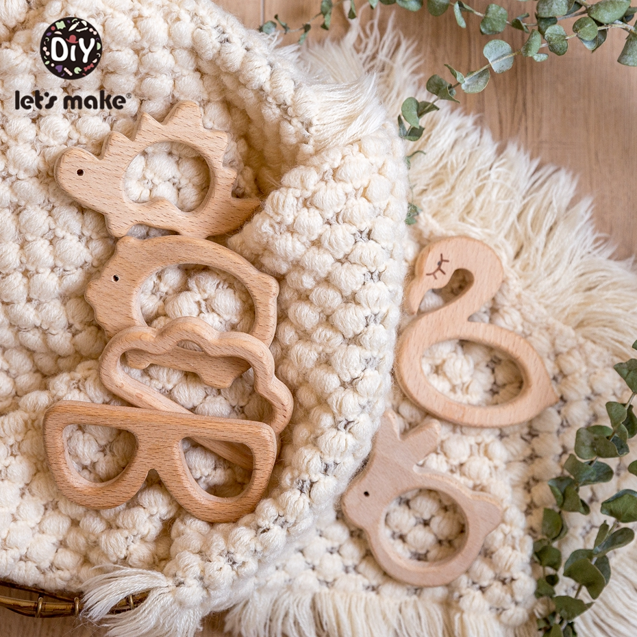 Let's Make 10pc Wooden Teether Natural Beech Wood Accessories DIY Pendant Graffiti Rodent Craft Teether Toy infant Baby Teether