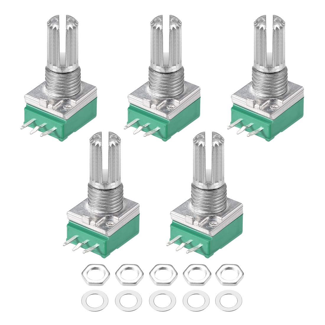 5pcs/lot RV097NS Potentiometer B5K B10K B20K B50K B100K B500K Potentiometer 3Pin Shaft With Switch Audio Sealing Potentiometers