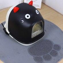 Grande espaço fechado gato toalete desodorização pet cat potty desenhos animados em forma de gato grande pode ser usado gato de estimação caixa de areia suprimentos de gato