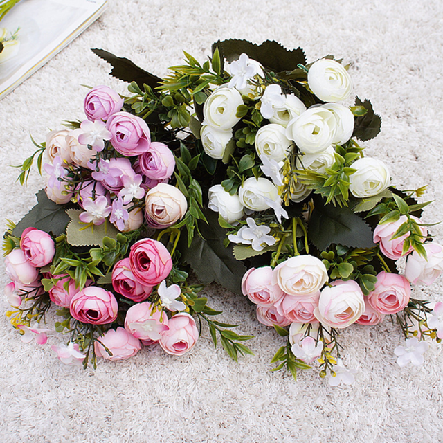 1pc 13 głowice jedwab sztuczny piwonia sztuczne kwiaty mała herbata z róży pąki fleur artificielles do dekoracji ślubnej domu kwiat tanie