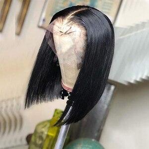 Сапфир 13х4 боб фронта шнурка парики с Bay волос короткий боб парик кружева фронта человеческих волос парики предварительно сорванные Кружева...