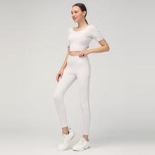 2020 wiosna w nowym stylu odchudzanie strój do jogi damski garnitur jednolity kolor sportowy T-shirt joga strój do fitnessu dwuczęściowy zestaw tanie tanio Solid Color Side Hollow out Trousers Beauty Back Short Sleeve