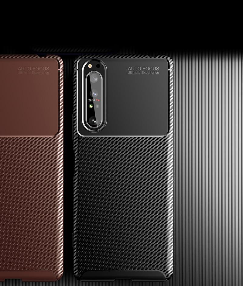 Silicone Protective Phone Case For Sony Xperia 5 II Carbon Fiber Soft TPU Cover Case For Sony Xperia 10 II 1 II Xperia 20 5 8 (1)