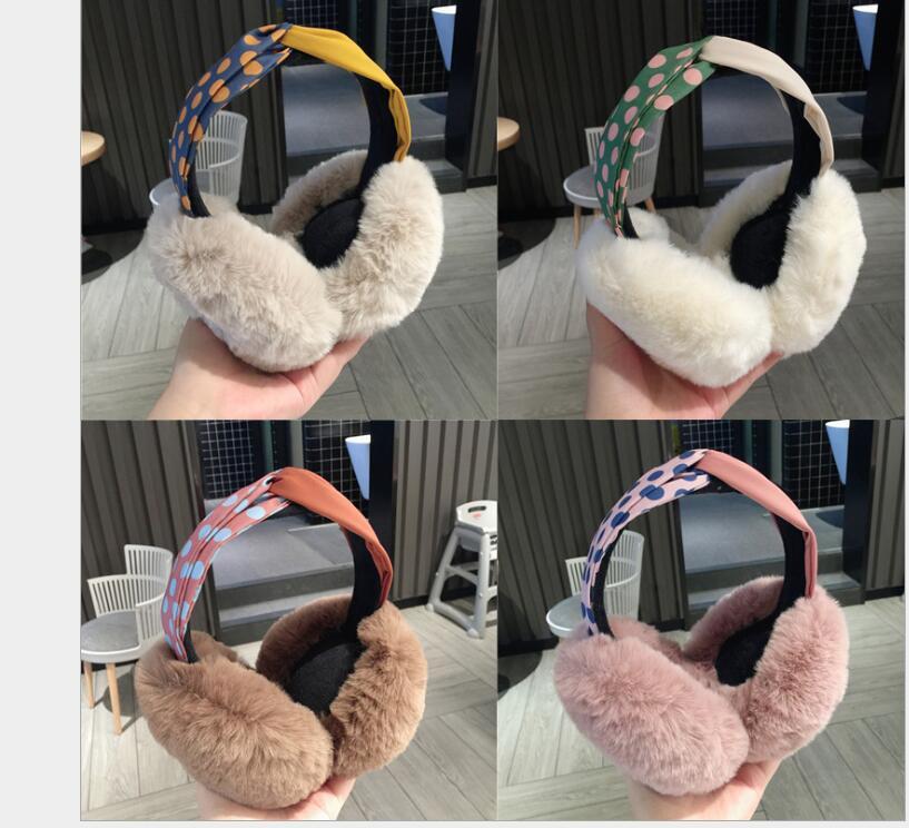 Winter Cute Wave Point Cross Warm Earmuffs Female Rabbit Fur Ear Warm Thick Foldable Ear Bag Earmuffs