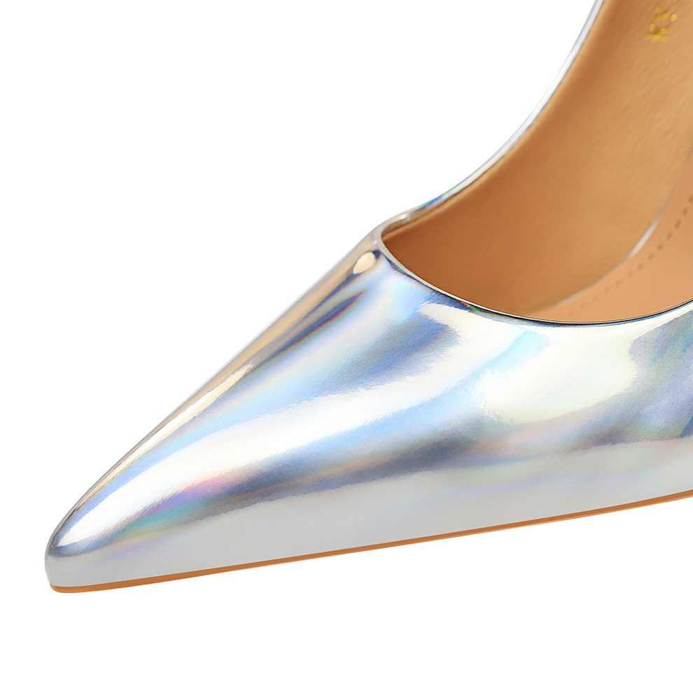2020 Elegante Vrouwen 10.5 Cm Hoge Hakken Talons Pompen Stripper Groen Bule Stiletto Wedding Bridal Valentine Scarpin Schoenen Plus Size