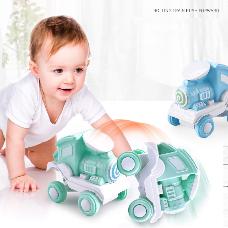360'' Rolling Train Toys For Children Pull Back Car Inertia Dump Stunt Car Friction Train Toys Baby Educational Hand Game Toys