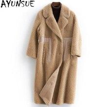 Ayunsue Echt Bont Jas Vrouwelijke Herfst Winter Jas Vrouwen Kleding 100% Wol Bontjassen Lange Koreaanse Overjas 2020 B18F9025-9 KJ6258
