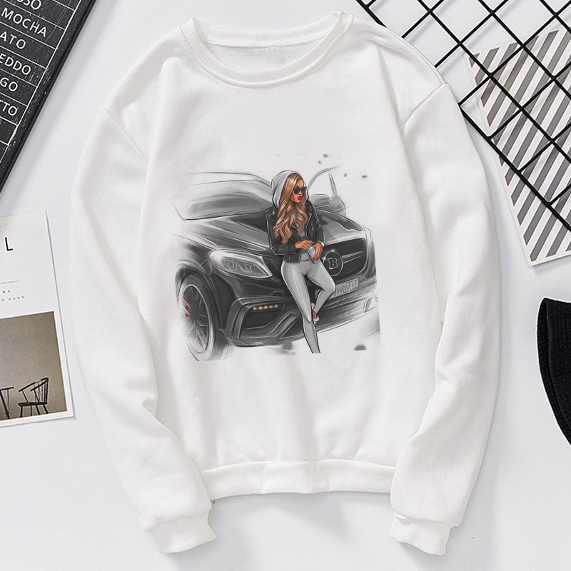 New Women Sweatshirt Fashionable Long Sleeve Casual Printed Sexy Cool Girl In The Car Hoodies Clothing 2020 Winter Hoodie Tops