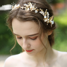 HIMSTORY  Delicate Gold Leaf Women Prom Headpiece Hairband Pearl Bridal Tiara Headband Handmade Wedding Accessorie Hair Jewelry jonnafe new design gold leaf tiara bridal headband handmade pearl hair jewelry wedding accessories vintage women headpiece