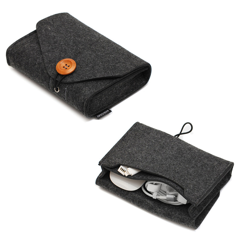 Travel Earphone Bag Key Coin Package Mini Felt Pouch Headphones Cable SD Card Power Bank Data Cable Organizer Travel Accessories