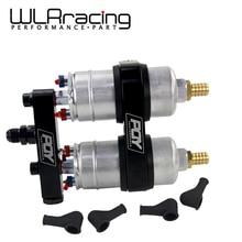 WLR מירוץ חתיכה אחת כפול חור דלק משאבת סוגר עם PQY UNIVERSAL לוגו + שתי חתיכות 044 משאבת דלק OEM:0580 254 044 300LPH
