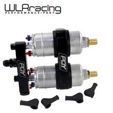 WLR yarış tek parça çift delik yakıt pompası braketi PQY logo + iki adet 044 yakıt pompası OEM:0580 254 044 300LPH