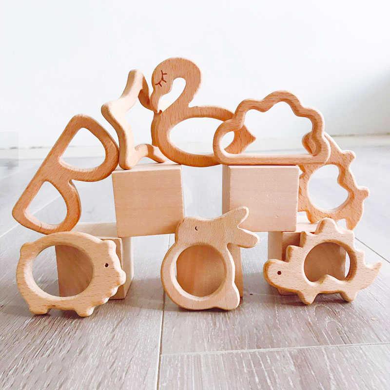 1Pc Houten Bijtring Hout Hanger Voor Speenketting Baby Producten Dier Houten Blank Knaagdieren Baby Bijtringen Geboorte Verpleegkundige Geschenken speelgoed
