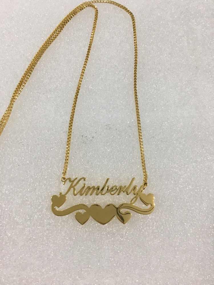 珍味リボンハート女性のためのパーソナライズされた名ネックレス銘板ジュエリーステンレス鋼カスタムレターネックレスビジュー