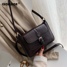 EXCELSIOR PU Leather Womens Messenger Bag Crocodile Pattern Crossbody for Female ins Style New Fashion Handbags