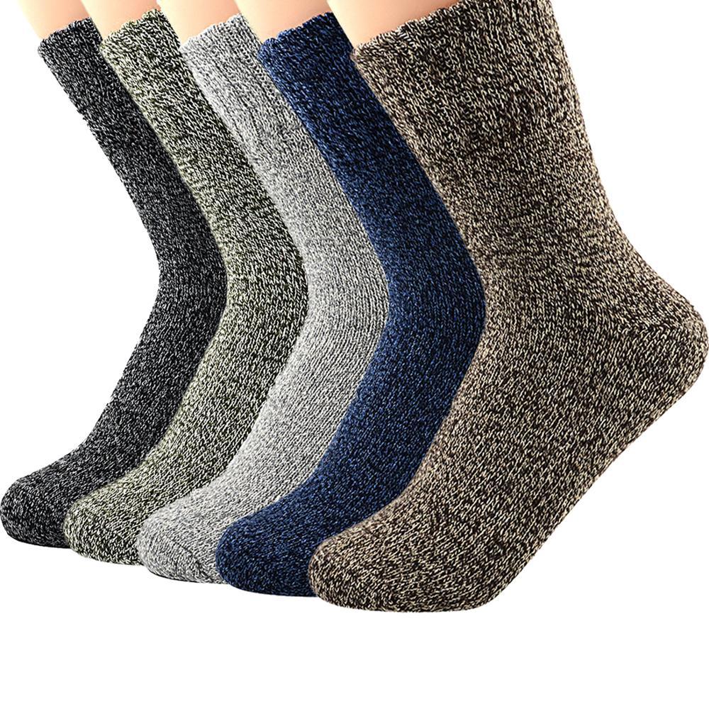 Мужские носки, шерсть, хлопок, повседневные, высокое качество, бриллиантовый узор, мужские носки, зимние, толстые, теплые, 5 пар, happy дышащие му...