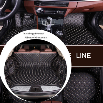 Leather car floor mat and trunk mat combination for JAGUAR E-Pace F-Pace X-Type I-pace S-Type XK8 XJ6 XJ8 XF XJL XK 1991-2019s