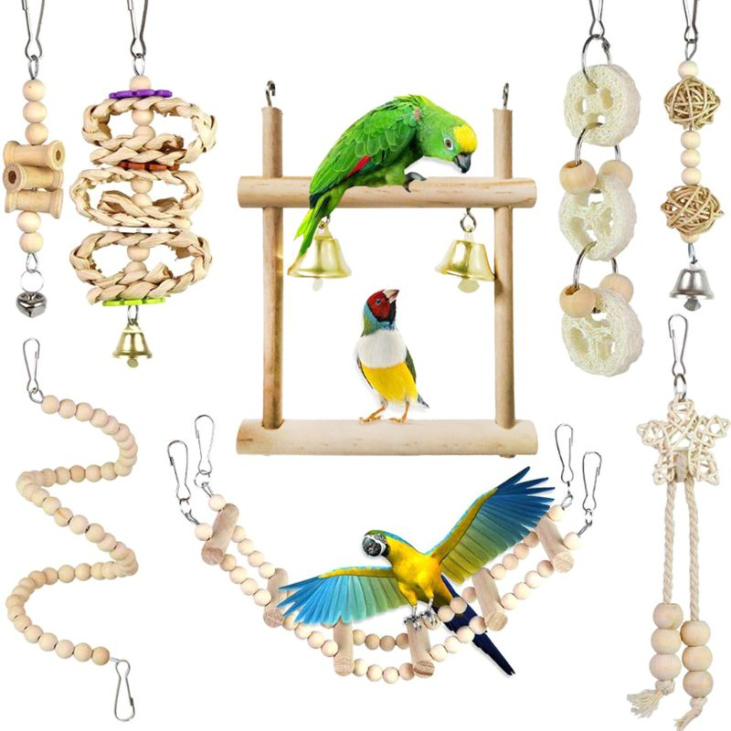 8Pcs/Set Bird Parrot Toys Wooden Hanging Swing Hammock Climbing Ladders Perches Toy Parakeet Cockatiels Bird Cage Supplies C42