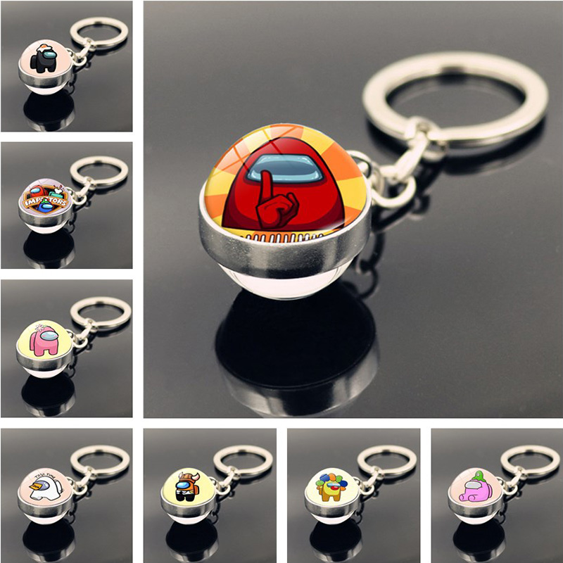 Hot Games Among Us Keychain Glass Ball Pendant Jewelry Charms Keychains for Car Keys Decoration Accessories Boyfriend Gift