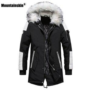 Image 1 - Зимнее Мужское пальто с меховым капюшоном, длинная хлопковая куртка, мужские повседневные парки, модные толстые теплые пальто, Мужская брендовая одежда SA611