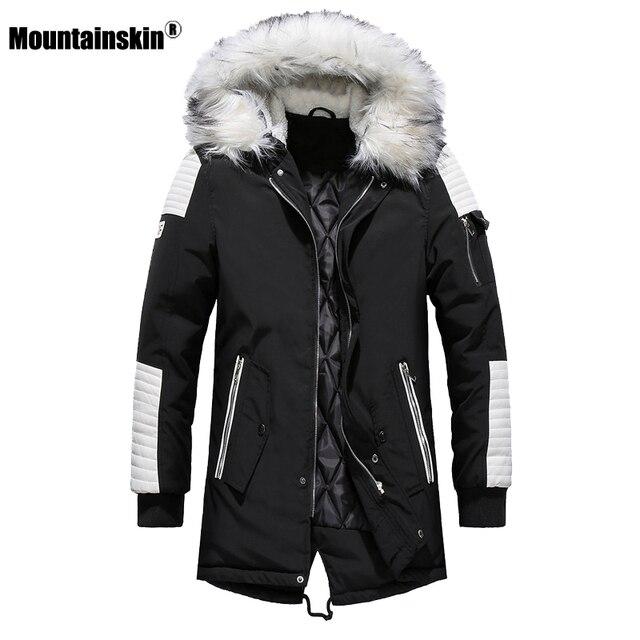 Зимнее Мужское пальто с меховым капюшоном, длинная хлопковая куртка, мужские повседневные парки, модные толстые теплые пальто, Мужская брендовая одежда SA611