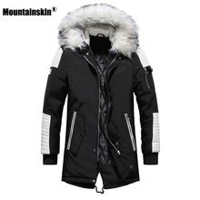 Moutainskin Winter Mens Coat Fur Hooded Long Cotton Jacket Male Casual Parkas Fashion Thick Warm Coats Men Brand Clothing SA611